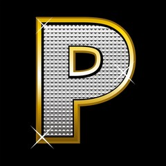 Bling bling font type_letter P