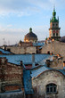 Roofs and Dormition Church at sunset, downtown Lviv, Ukraine