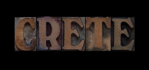 Crete in old wood type