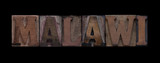 Malawi in old wood type