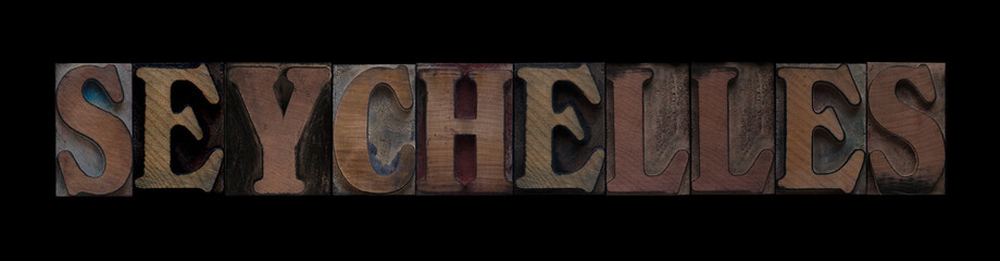 Seychelles in old wood type