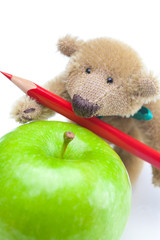 teddy bear, apple  and colored pencils isolated on white