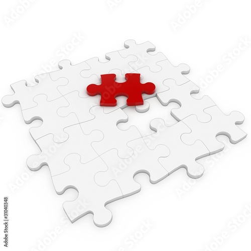 3d puzzle with red one