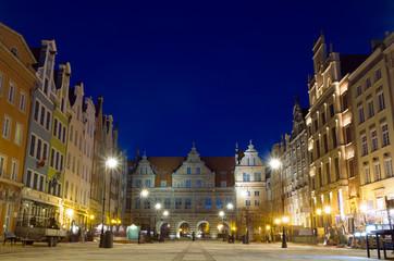 Long Street of Gdansk at night - Poland