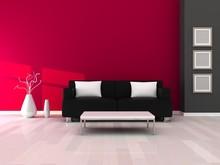 Wnętrze nowoczesnego pokoju, szary i różowe ściany i czarnej kanapie
