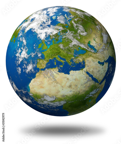 Europe map earth planet model
