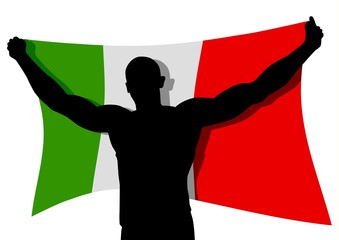 Vector illustration of a man figure carrying the flag of Italy