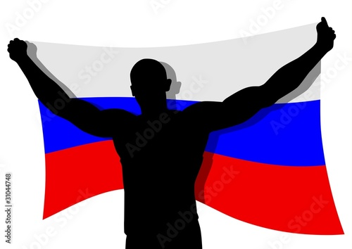 Vector illustration of a man figure carrying the flag of Russia
