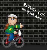 Cartoon cyclist and reduce CO2 emissions message poster