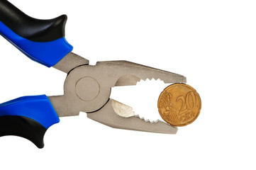Flat-nose pliers and coin isolated on white.