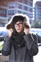 portrait of male model outdoor, urban scene