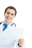 Portrait of happy smiling doctor with signboard, isolated