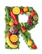Fruit and vegetable alphabet - letter R