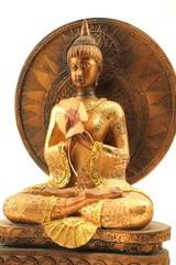 Buddhafigur mit Glücksklee