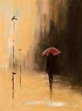 sob um guarda-chuva