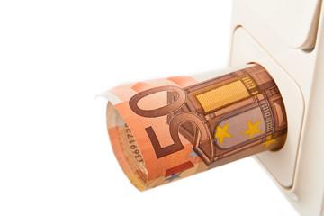 Stromkosten Steckdose Geldschein
