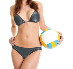 Beautilful volleyball player woman in swimwear