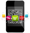 Smartphone QR Code 5 Coloured Icons Shopping
