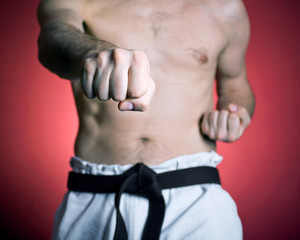 Practice karate punch, martial arts concept