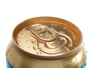 Closed Gold beer can with water drops isolated over white