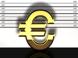 Euro sign mug shot, financial fraud and speculation poster