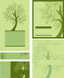 Set of vector decorative spring tree