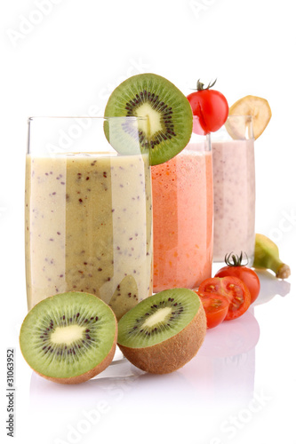 smoothies isolated on white