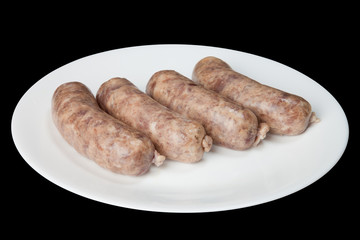 The hunting sausages on a white plate