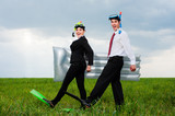 two glad business people going to vacation poster