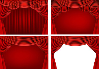 Four backgrounds with red velvet curtains. Vector.