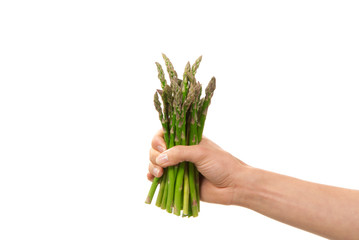 Bunch of asparagus in hand isolated on a white background