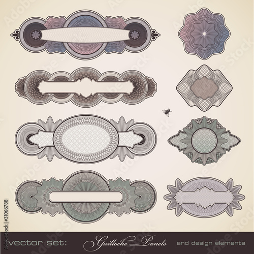 vector set: guilloche panels and design elements