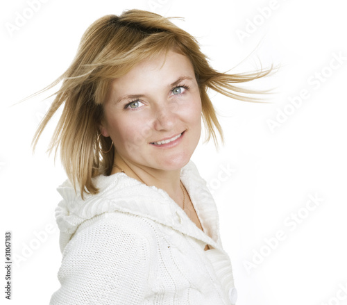 Portrait of a cute cheerful young woman