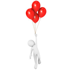 Man flying attached to red balloons