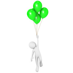 Man flying attached to green balloons