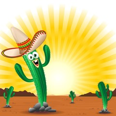 Cactus con Sombrero Cartoon-Cactus with Sombrero-Vector