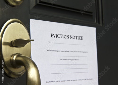 Eviction Notice Letter on Front  Door