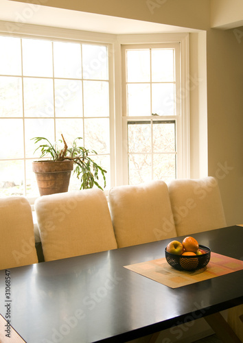 dining room table with fruit bowl