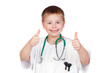 Adorable child with doctor uniform saying Ok
