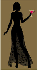 silhouette of Lady with a cocktail