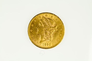 US double eagle gold coin, liberty type, ovberse