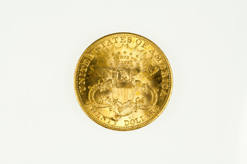US double eagle gold coin, liberty type, reverse