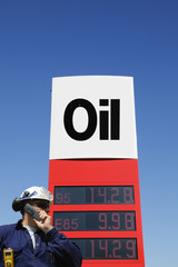 engineer and oil-sign