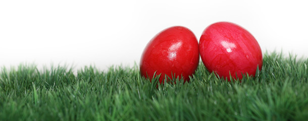 Rote Eier versteckt im Gras