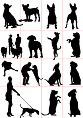 Set of dogs silhouette. Vector illustration