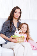 Mother and daughter with the Easter bunny