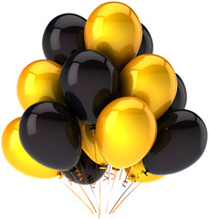 Party balloons shiny yellow and black modern decoration