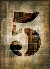 Chiffre 5, fond vintage