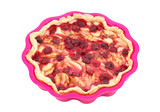 Apple and cherry pie in silicone pan, isolated on white poster