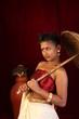 female model in strapless red blouse,kerala mundu